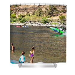 Jet Boat Beach Shower Curtain