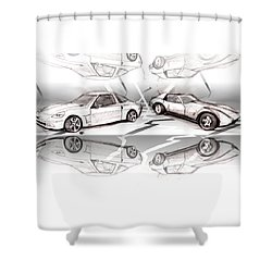 Jet Mikes Cars Shower Curtain by John Jr Gholson