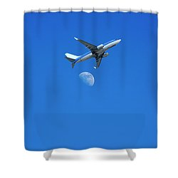 Jet Plane Flying Over The Moon Shower Curtain