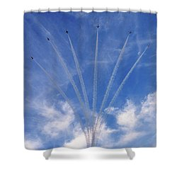 Jet Planes Formation In Sky Shower Curtain