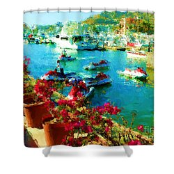 Jet Skis And Flowers Shower Curtain by Gerhardt Isringhaus