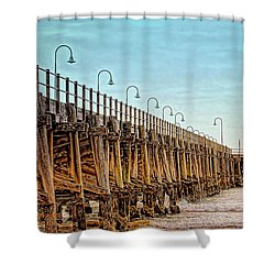 Shower Curtain featuring the photograph Jetty, Coffs Harbour by Wallaroo Images