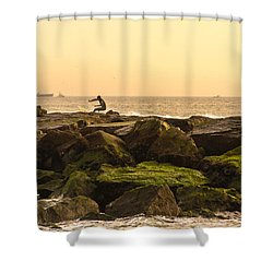 Jetty Surfer Shower Curtain