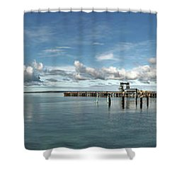 Shower Curtain featuring the photograph Jetty To Shore by Stephen Mitchell