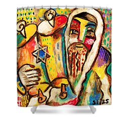 Jewish Celebrations Rejoicing In The Torah Shower Curtain by Sandra Silberzweig
