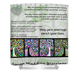 Jewish Seven Wedding Blessings Tree Of Life Hamsas Shower Curtain by Sandra Silberzweig