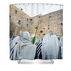 Jewish Sunrise Prayers At The Western Wall, Israel 10 Shower Curtain