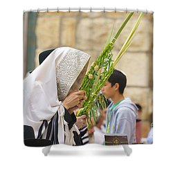 Jewish Sunrise Prayers At The Western Wall, Israel 6 Shower Curtain