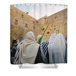 Jewish Sunrise Prayers At The Western Wall, Israel 9 Shower Curtain