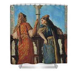 Jewish Women At The Balcony In Algiers Shower Curtain by Theodore Chasseriau