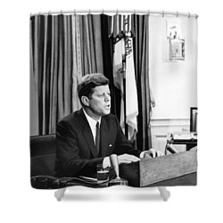 Jfk Addresses The Nation  Shower Curtain by War Is Hell Store