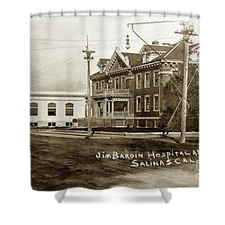 Jim Bardin Hospital The Hospital Was Located On The E Side Of Main Street  Circa 1910 Shower Curtain