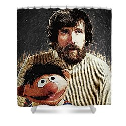 Jim Henson With Ernie Shower Curtain by Taylan Apukovska
