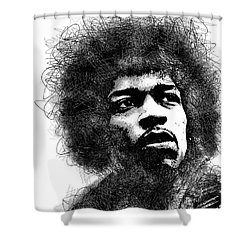Jimi Hendrix Bw Scribbles Portrait Shower Curtain
