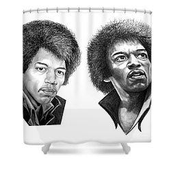 Jimi Hendrix Shower Curtain by Murphy Elliott