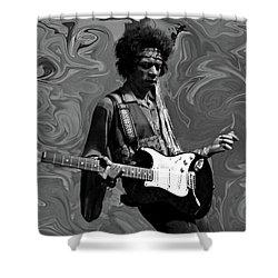 Shower Curtain featuring the photograph Jimi Hendrix Purple Haze B W by David Dehner