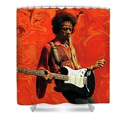 Shower Curtain featuring the photograph Jimi Hendrix Purple Haze Orange by David Dehner