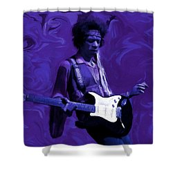 Shower Curtain featuring the painting Jimi Hendrix Purple Haze P D P by David Dehner