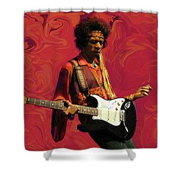 Shower Curtain featuring the photograph Jimi Hendrix Purple Haze Red by David Dehner