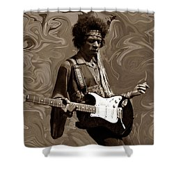 Shower Curtain featuring the photograph Jimi Hendrix Purple Haze Sepia by David Dehner