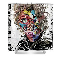 Jimi Hendrix Shower Curtain by Russell Pierce
