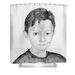 Shower Curtain featuring the drawing Jimmy by Mayhem Mediums