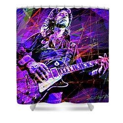 Jimmy Page Solos Shower Curtain by David Lloyd Glover