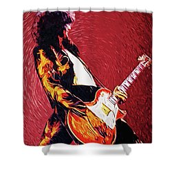 Jimmy Page  Shower Curtain by Taylan Apukovska