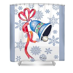 Jingle Bells And Snowflakes On Christmas Day Shower Curtain