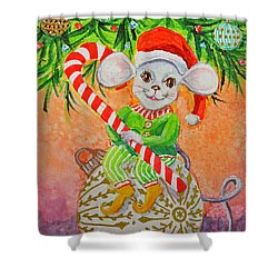Shower Curtain featuring the painting Jingle Mouse by Li Newton