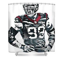 Jj Watt Houston Texans Pixel Art 5 Shower Curtain by Joe Hamilton