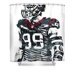 Jj Watt Houston Texans Pixel Art 6 Shower Curtain by Joe Hamilton