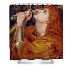 Joan Of Arc Shower Curtain by Dante Charles Gabriel Rossetti