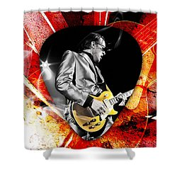 Joe Bonamassa Blue Guitar Art Shower Curtain by Marvin Blaine