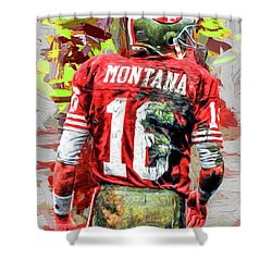 Joe Montana Football Digital Fantasy Painting San Francisco 49ers Shower Curtain by David Haskett
