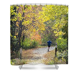 Jogger On Nature Trail In Autumn Shower Curtain