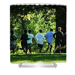 Joggers In The Park Shower Curtain by Susan Savad
