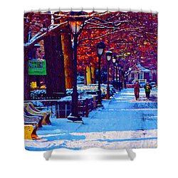 Jogging In The Snow Along Boathouse Row Shower Curtain by Bill Cannon
