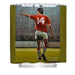 Johan Cruyff Oranje Nr 14 Shower Curtain by Paul Meijering