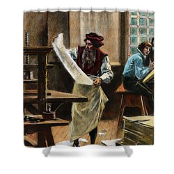 Johann Gutenberg Shower Curtain by Granger