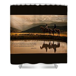 Shower Curtain featuring the photograph John 3 16 Scripture And Picture by Ken Smith