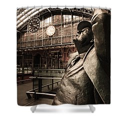John Betjeman And Dent Clockat St Pancras Railway Station Shower Curtain