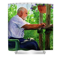 John Cleaning The Rifle Shower Curtain by Donna Walsh
