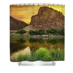 John Day River At Sunrise Shower Curtain by David Gn