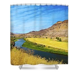 John Day River Panoramic View Shower Curtain