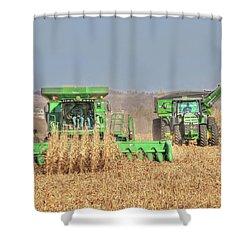 John Deere Combine Picking Corn Followed By Tractor And Grain Cart Shower Curtain