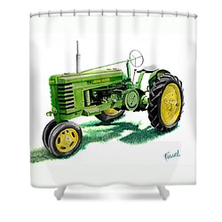 Shower Curtain featuring the painting John Deere Tractor by Ferrel Cordle