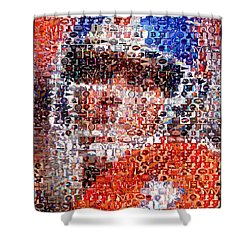 John Elway Mosaic Shower Curtain by Paul Van Scott