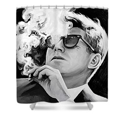 Shower Curtain featuring the painting John F. Kennedy Artwork 1 by Sheraz A