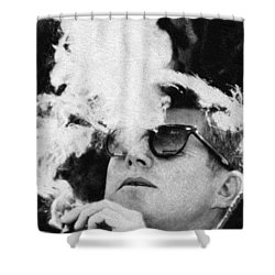 John F Kennedy Cigar And Sunglasses Black And White Shower Curtain